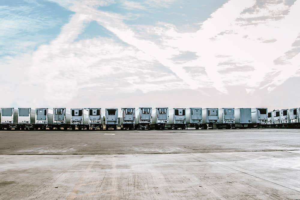row of reefer trailers, Desert Trailer Rentals, Phoenix Arizona